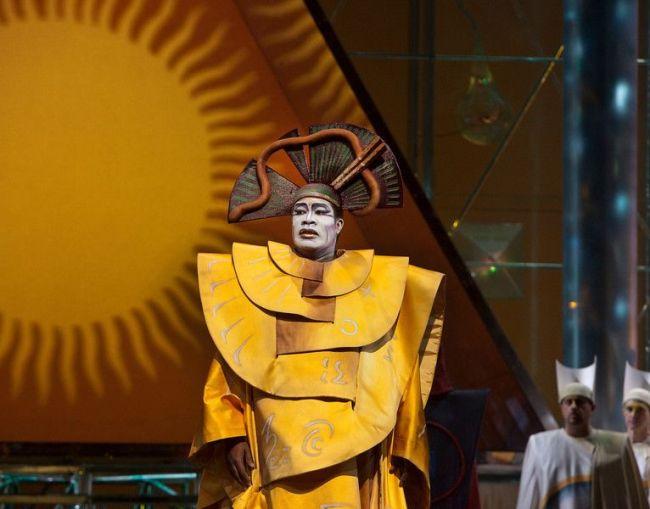 "Eric Owens as Sarastro in the abridged, English-language holiday presentation of Mozart's ""The Magic Flute."" Photo: Ken Howard/Metropolitan Opera"