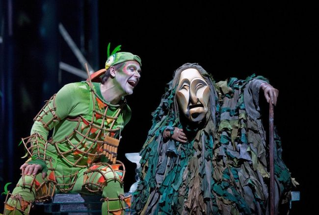 "Nathan Gunn (left) as Papageno in the abridged, English-language holiday presentation of Mozart's ""The Magic Flute."" Photo: Ken Howard/Metropolitan Opera"