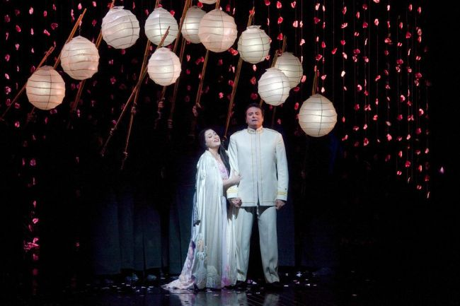 "Patricia Racette as Cio-Cio-San and Marcello Giordani as Pinkerton in Puccini's ""Madama Butterfly."" Photo: Ken Howard/Metropolitan Opera"
