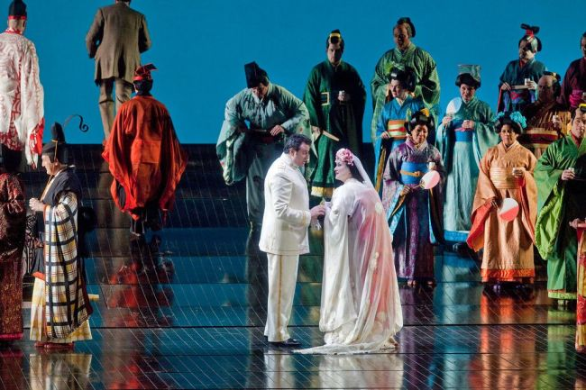 "Marcello Giordani as Pinkerton and Patricia Racette as Cio-Cio-San in Puccini's ""Madama Butterfly."" Photo: Ken Howard/Metropolitan Opera"