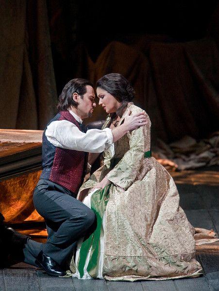 "Mariusz Kwiecien as Enrico and Anna Netrebko in the title role of Donizetti's ""Lucia di Lammermoor."" Photo: Ken Howard/Metropolitan Opera"