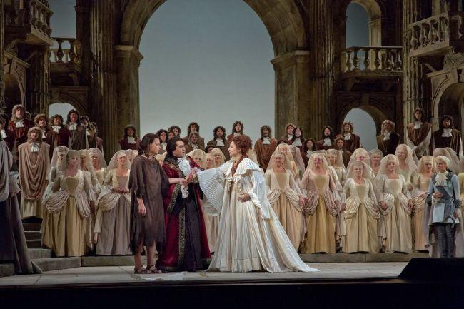 "Elīna Garanča as Sesto, Giuseppe Filianoti as Tito, and Barbara Frittoli as Vitellia in Mozart's ""La Clemenza di Tito.""  Photo: Ken Howard/Metropolitan Opera"