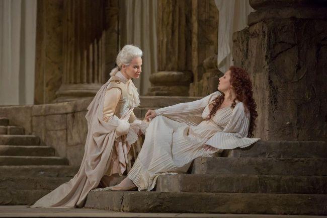 "Elīna Garanča as Sesto and Barbara Frittoli as Vitellia in Mozart's ""La Clemenza di Tito.""  Photo: Ken Howard/Metropolitan Opera Taken during the rehearsal at the Metropolitan"