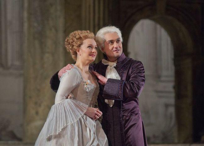 "Lucy Crowe as Servilia and Giuseppe Filianoti as Tito in Mozart's ""La Clemenza di Tito.""  Photo: Ken Howard/Metropolitan Opera"
