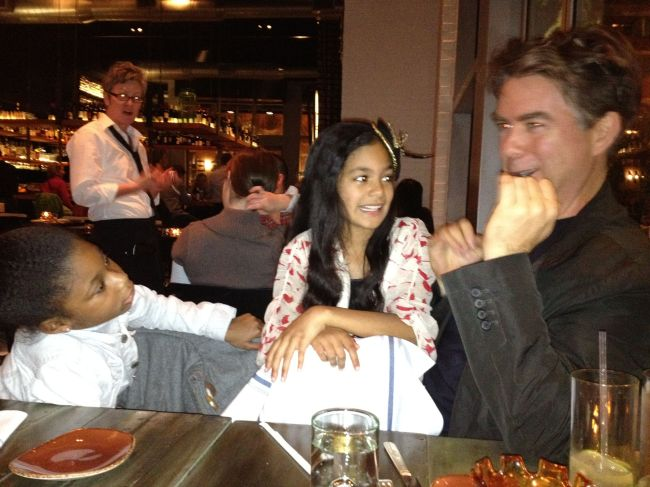 Layla & Grace at dinner before the show with Nick