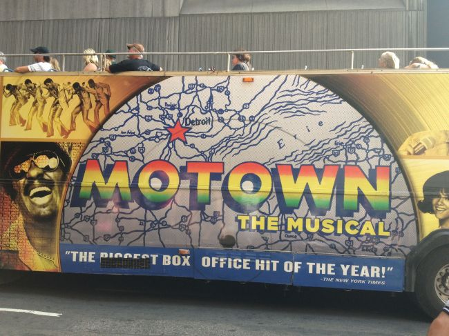 Double decker bus with Motown wrap