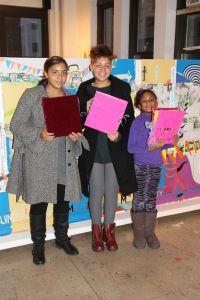Ana, Maya & Grace with their books