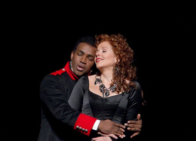 "Lawrence Brownlee as Rinaldo and Renée Fleming in the title role of Rossini's ""Armida."""