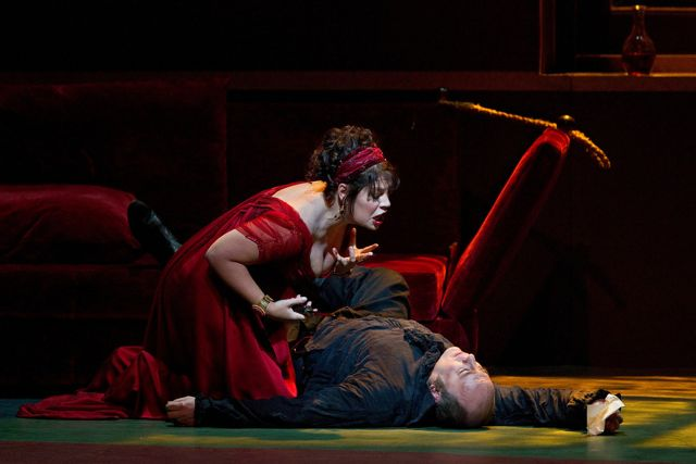 "Sondra Radvanovsky (left) in the title role of Puccini's ""Tosca."" Radvanovsky returns to the role at the Met on December 11, 2013.  Photo: Marty Sohl/Metropolitan Opera"