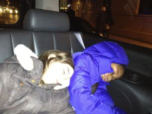 Lexi & Grace knocked out in the taxi