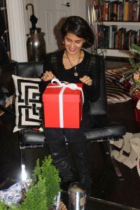 Judi opening a Secret Santa Present