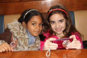 Layla & Lexi looking at pics