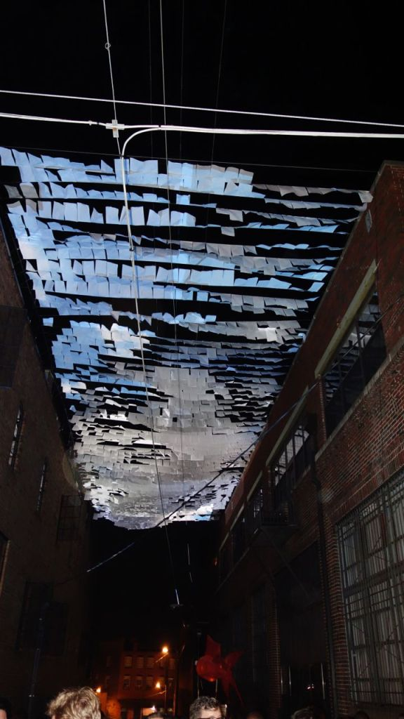Micah & Whitney Stansell - An Inversion (with sky and land)- a video installation where daylight suddenly occupies a street within the night