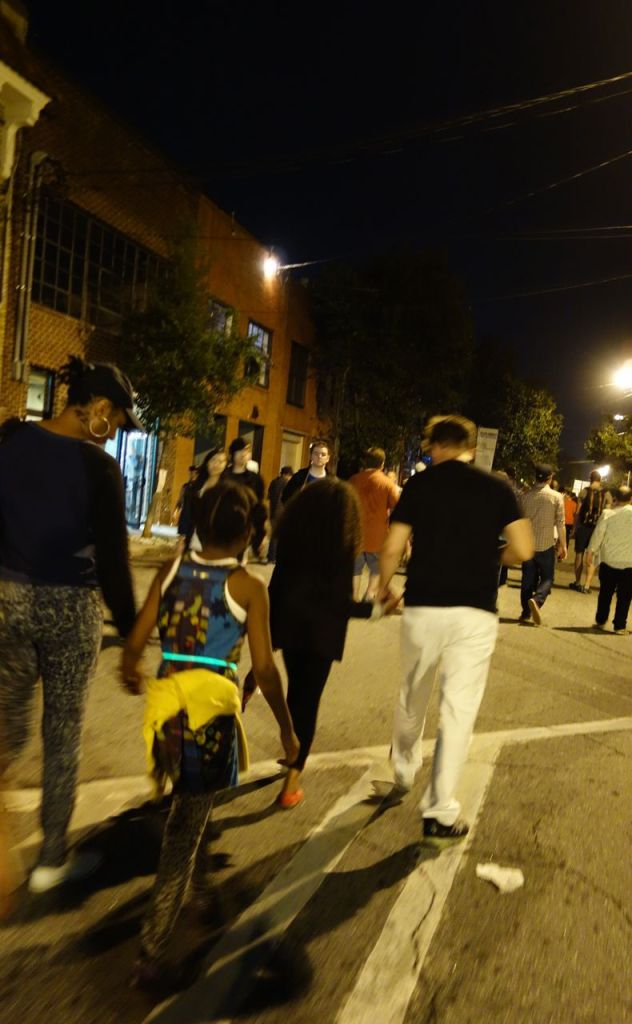 Walking through the streets at Flux