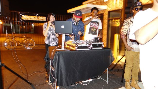 DJ at impromptu street dance party