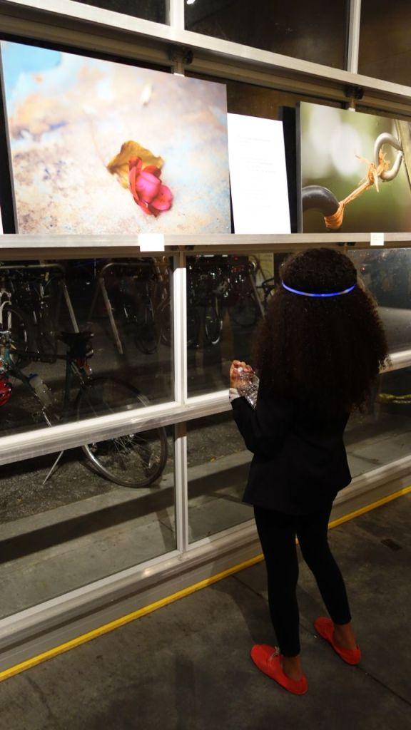 Layla enjoying an art piece
