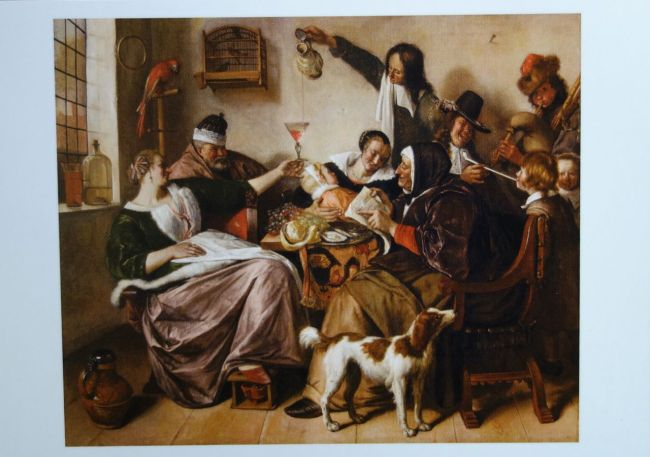 """Photo of postcard of Jan Steen's """"As the Old Sing, So Twitter the Young."""" ca. 1668-1670 Oil on Canvas"""
