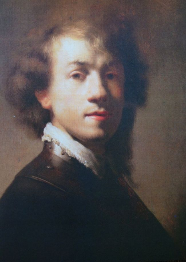 """Photo of postcard of Rembrandt's """"Portrait of Rembrandt"""" ca. 1629 Oil on Panel"""