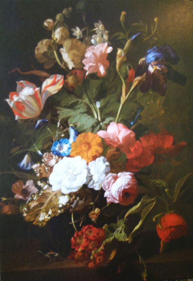 """Photo of postcard of Rachel Ruysch's """"Vase with flowers."""" ca. 1700. Oil on Canvas"""