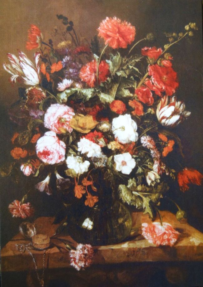 "Photo of postcard of Abraham van Beyeren's ""Flower Still Life."" ca. 1668-1670 Oil on Canvas"
