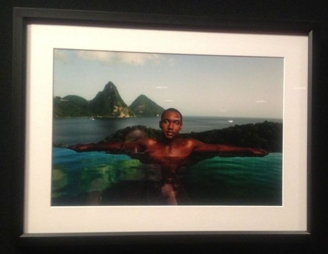 Alison Wright- Man in infinity pool with Grand Pitons- Jade Mountain Resort, St. Lucia, 2009
