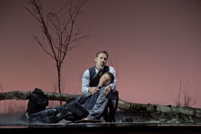 "Mariusz Kwiecien as the title character and Piotr Beczala as Lenski in Tchaikovsky's ""Eugene Onegin."" Photo: Ken Howard/Metropolitan Opera"