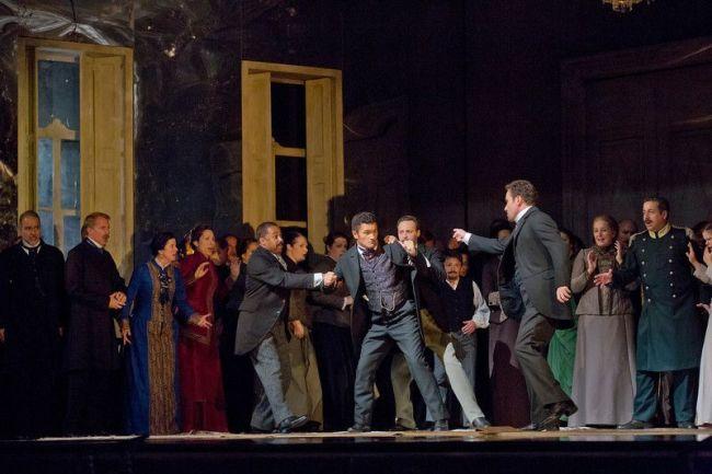 "Piotr Beczala as Lenski and Mariusz Kwiecien as the title character of Tchaikovsky's ""Eugene Onegin."" Photo: Ken Howard/Metropolitan Opera"