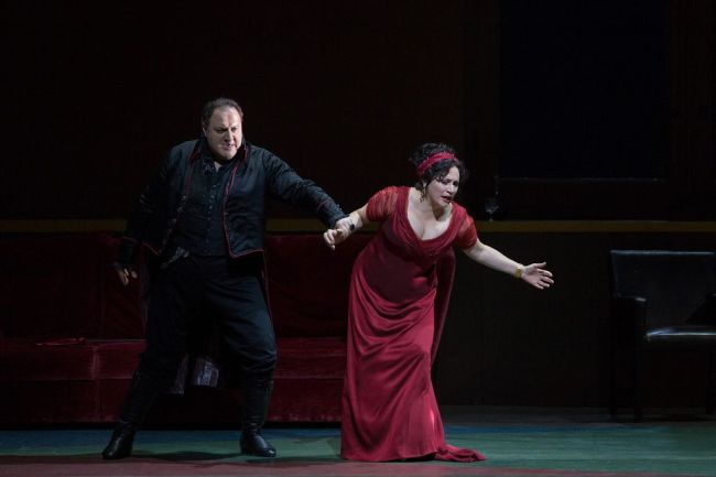 "George Gagnidze as Scarpia and Patricia Racette as the title character in a scene from Act II of Puccini's ""Tosca.""  Photo: Marty Sohl/Metropolitan Opera"
