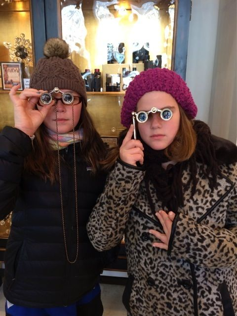 Lucy and Isabel in the Met Opera Shop