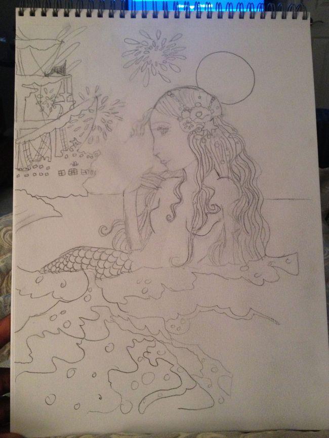 Rusalka Manga pencil drawing