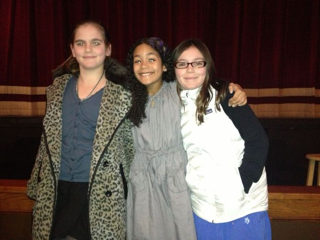 Isabel, Layla and Lucy before the Q & A