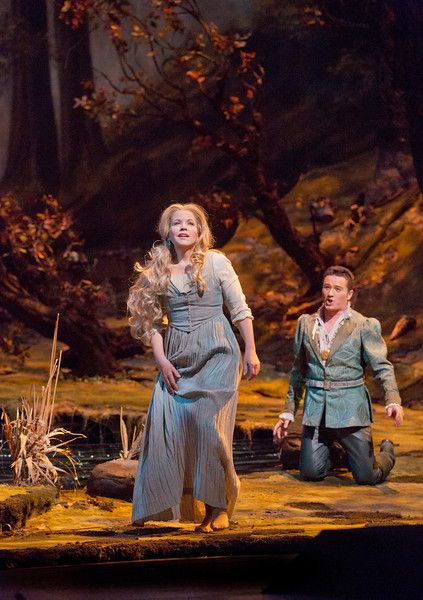 "Renée Fleming (standing) in the title role and Piotr Beczala as the Prince in Dvořák's ""Rusalka.""  Photo: Ken Howard/Metropolitan Opera"