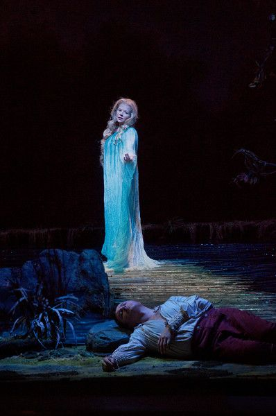 "enée Fleming (standing) in the title role and Piotr Beczala as the Prince in Dvořák's ""Rusalka.""  Photo: Ken Howard/Metropolitan Opera"
