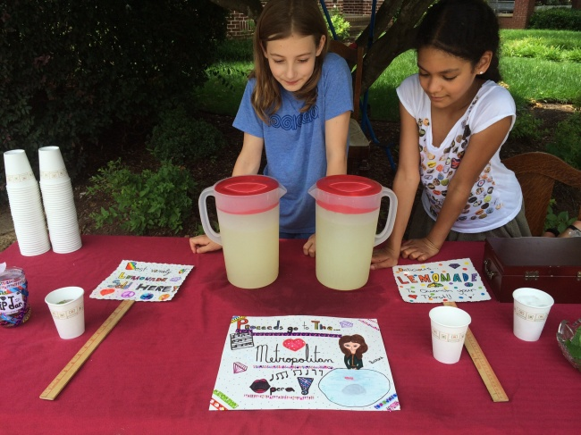 Lia & Layla sell Lemonade to benefit the Met Opera