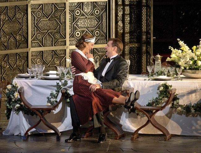 "Marlis Petersen as Susanna and Peter Mattei as Count Almaviva in Mozart's ""Le Nozze di Figaro."" Richard Eyre's new production of the opera, conducted by James Levine, opens the Met season on September 22, 2014. Photo: Ken Howard/Metropolitan Opera"