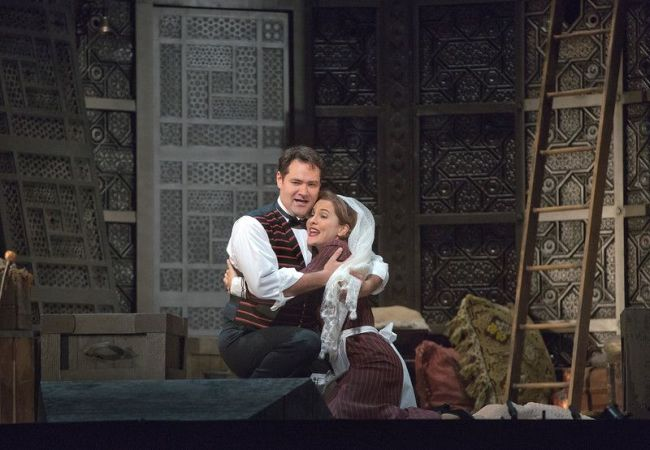 "Marlis Petersen as Susanna and Ildar Abdrazakov as Figaro in Mozart's ""Le Nozze di Figaro."" Richard Eyre's new production of the opera, conducted by James Levine, opens the Met season on September 22, 2014. Photo: Ken Howard/Metropolitan Opera"