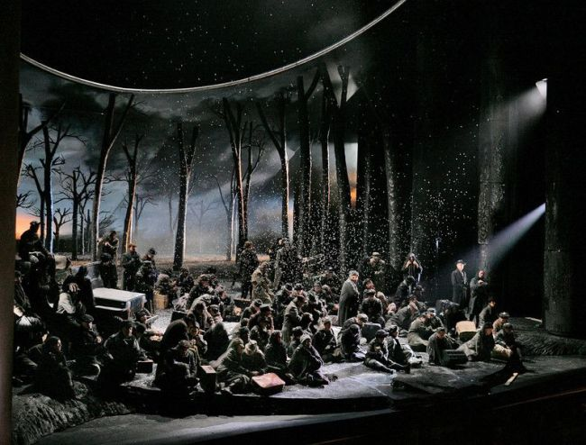 "Scottish refugees in a scene from Act IV of Verdi's ""Macbeth."" Photo: Ken Howard/Metropolitan Opera"