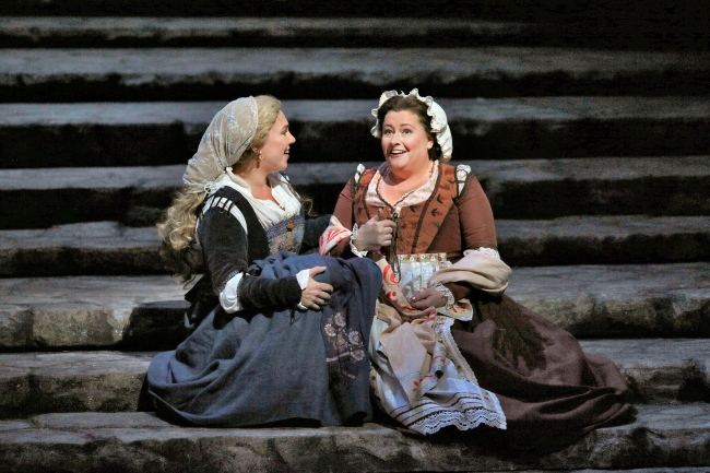 Annette Dasch as Eva and Karen Cargill as Magdalene in Wagner's Die Meistersinger von Nürnberg. Photo: Ken Howard/Metropolitan Opera