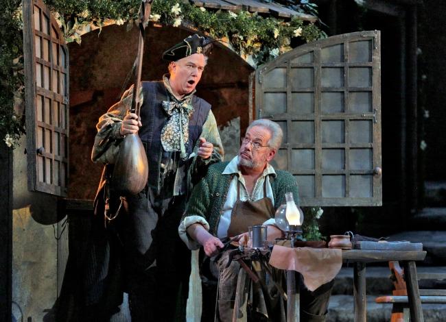 """Johannes Martin Kränzle as Beckmesser and James Morris as Hans Sachs in Wagner's """"Die Meistersinger von Nürnberg."""" Photo: Ken Howard/Metropolitan Opera"""