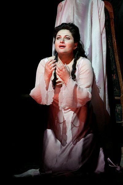 """Hibla Gerzmava as Antonia in Offenbach's """"Les Contes d'Hoffmann."""" Photo: Marty Sohl/Metropolitan Opera"""