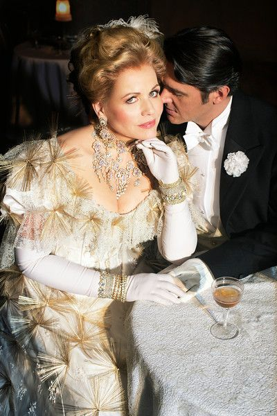 "Franz Lehár THE MERRY WIDOW Renée Fleming as Hanna and Nathan Gunn as Danilo in Lehár's ""The Merry Widow."" Susan Stroman's new production opens on December 31, 2014.  Photo: Brigitte Lacombe/Metropolitan Opera"