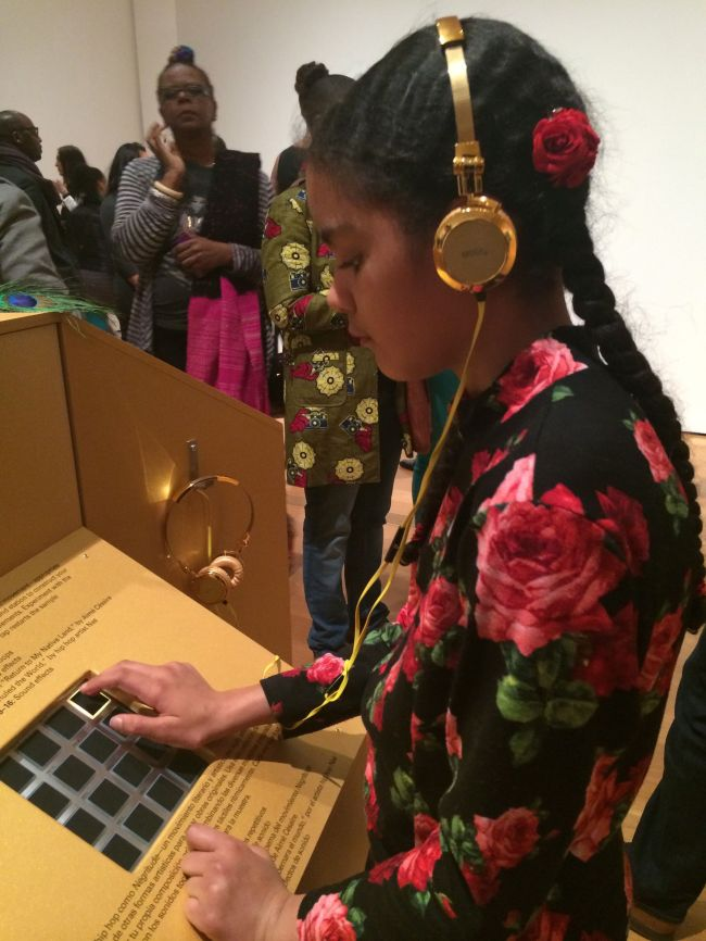 Layla with Fahamu's interactive music piece