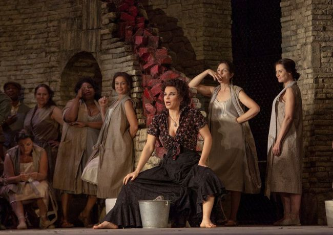 "A scene from Act I of Bizet's ""Carmen"" with Elina Garanca in the title role.  Photo: Ken Howard/Metropolitan Opera"