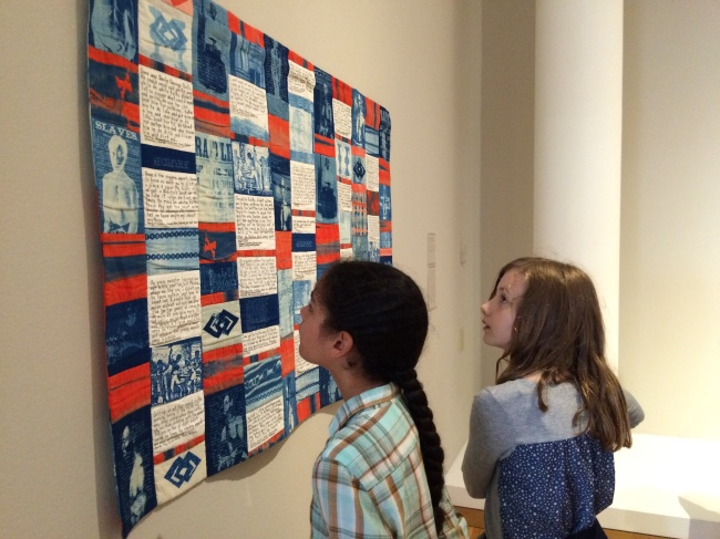 Layla and Lia with quilt