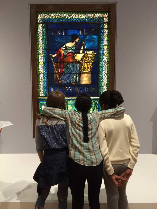 Lia, Layla and Grace with the Stained Glass window